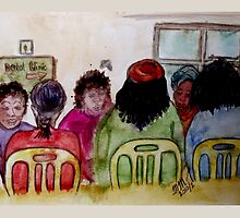 Cartoon - At the Dental Clinic by Mariaan Maritz Krog Fine Art Portfolio