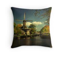 Autumn Glow on Dutch Windmill Throw Pillow