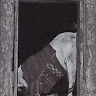 Goat In Pullover In Window/Door in Varanasi, India, Ink Drawing by RIYAZ POCKETWALA