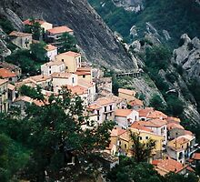 Hillside Town View - Castelmezzano, Italy by Sandra Albin