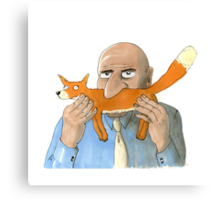 Sniffox, a man sniffing a fox Canvas Print