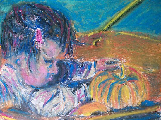 First Pumpkins (Pastel) by Niki Hilsabeck
