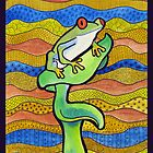 Retro Frog Original Watercolor by GroovyGal