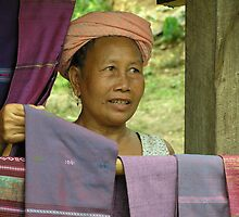 Laos -  Weaver from a village on the Mekong by Maureen Keogh