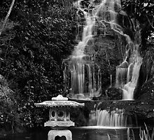 Peace Garden Falls and Flame (bw) by Werner Padarin