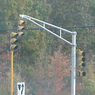 Triple Traffic Lights at Mansfield with pedestrian crosswalk light Part 2 by Eric Sanford