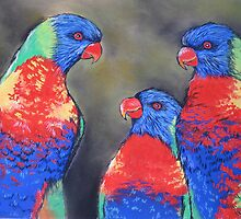 Colourful Chatter {Australian Lorikeets} by Sally Ford