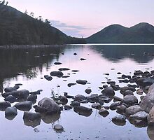 Dusk Reflections At Jordan Pond  by Stephen Vecchiotti