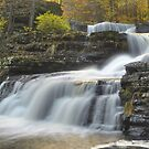 Factory Falls In Autumn by Stephen Vecchiotti