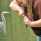 Great Blue Heron and Great Big Fishing Lady by Kenneth Haley