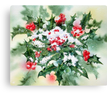 Holly and Snow Canvas Print