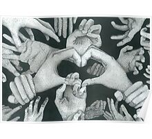 Hands Ink drawing Poster