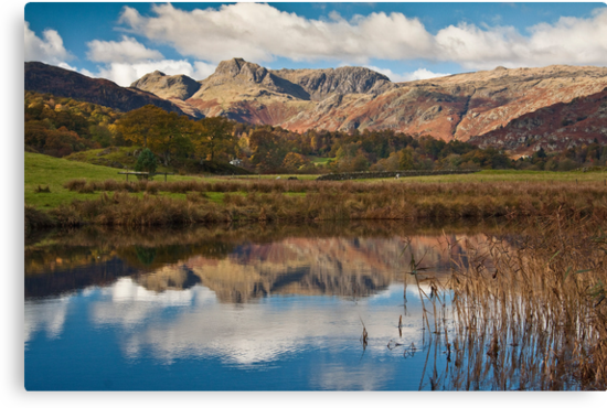 The Langdale peaks from the river Brathay by Shaun Whiteman