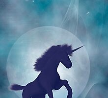 Unicorn silhouetted against a full moon by Carol and Mike Werner