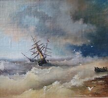 """After The Storm"". The copy  from picture of   Aivazovsky by Alla Melnichenko"