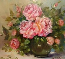 Roses in a Glass Vase by Cathy Amendola
