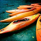 Beached kayaks by Cara Gallardo Weil