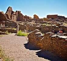 View of the walls in the ruins in Chaco Canyon  by Ann Reece