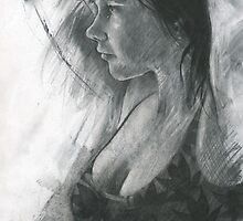 charcoal study of Moray by djones