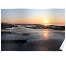 Low Tide Sunrise - Worthing Poster