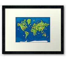 cartoon map of the world Framed Print