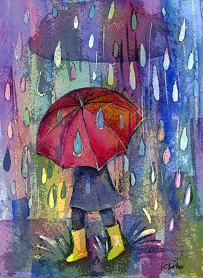Red brolly by Karin Zeller