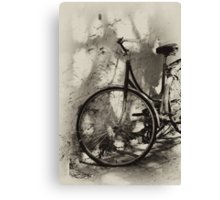 old bicycle in dappled light Canvas Print