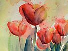 A Few of the Tulips from Tulips by Candlelight Watercolor by CheyAnne Sexton