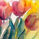 Even Closer of Tulips by Candlelight Watercolor by CheyAnne Sexton