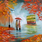 Meeting in the rain Oil painting by gordonbruce