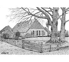 Original Dutch Farmhouse in Drenthe Holland - Pen Drawing Photographic Print