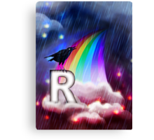R is for Rain, Rainbow, Raven Canvas Print