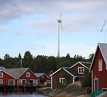 Wind turbine in a fishing village - Skeppsmalen, Höga Kusten / High Coast, Sweden by intensivelight