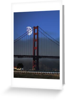 Moon Over Foggy Golden Gate Bridge . Vertical by Wing Tong