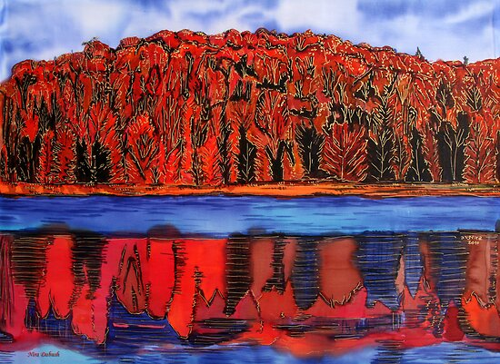 Red Autumn touches the Blues.. by Nira Dabush