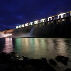 Hume Weir wall at night by dmaxwell