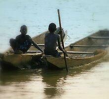 Children fishing on Niger River-renote Nigeria. by joshuatree2