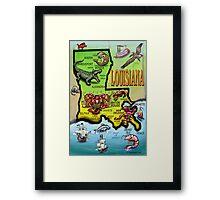 Louisiana Cartoon Map Framed Print