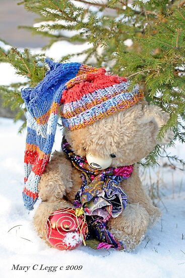 Vintage Teddy Bear  in snow by pogomcl