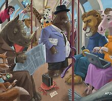 animals on a tube train subway commute by martyee