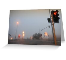 At the lights on a foggy morning Greeting Card