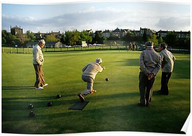Men enjoying a game of bowls, England, 1980s. by David A. L. Davies