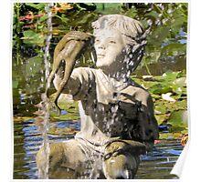 Boy and Fish Water Fountain Tyler Rose Garden Center Poster