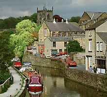 The Canal basin in Skipton. N. Yorkshire, England, UK, 1980s. by David A. L. Davies