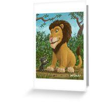 big lion small cat Greeting Card