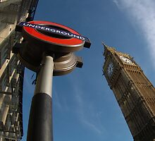 Big ben with underground sign by Russell Bruce