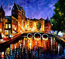 AMSTERDAM - Original Art Oil Painting By Leonid Afremov by Leonid  Afremov
