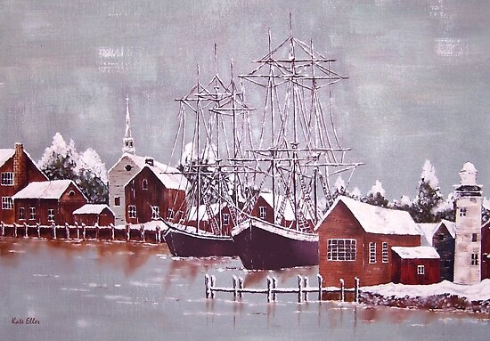 Winter Harbor in Maine by Kate Eller