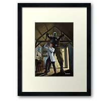 monster loose in victorian science laboratory Framed Print