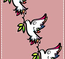 THREE PEACE DOVES by S DOT SLAUGHTER